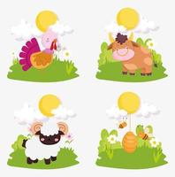 conjunto de lindos animales de granja vector