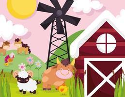 lindos animales en una granja.