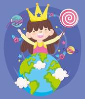 Little girl with crown and lollipop