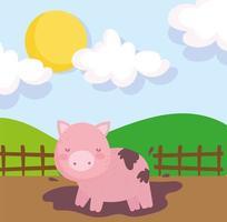 Cute farm pig in the mud vector
