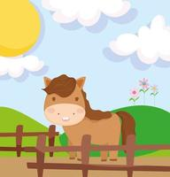 Cute farm horse behind a wooden fence