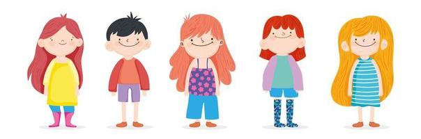 Group of kids on white background vector