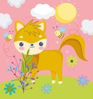Cute little fox outdoors vector