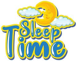 Font design for word sleep time with moon in the sky