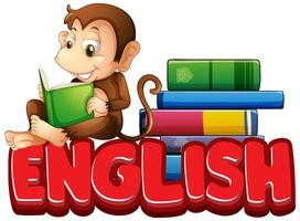 Sticker design for word english with monkey reading book