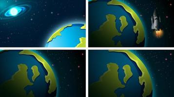 Set of earth in space scenes vector