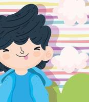 Little boy on a stripped background vector