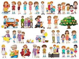 Group of family member characters