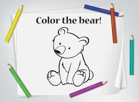 Children bear coloring worksheet