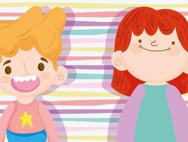 Little kids on a stripped background vector