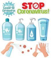 Pare la señal de texto del coronavirus con el tema del coronavirus y productos desinfectantes vector