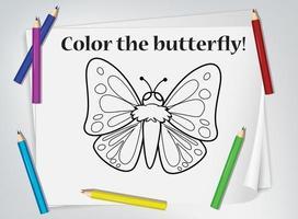 hoja de trabajo para colorear mariposa infantil vector