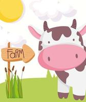 Cute cow with wooden sign, farm animals vector