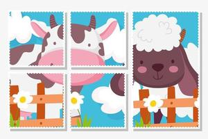 Cute farm animals cards