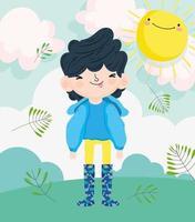 Little boy outdoors vector