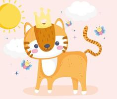 Little tiger with crown and flying butterflies sunny day