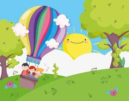 Little kids playing outdoors vector
