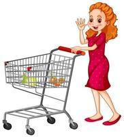Mujer empujando el carrito de la compra sobre fondo blanco. vector