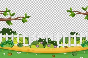 Blank nature graden scene on transparent background