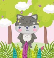 pequeño mapache de dibujos animados en el follaje del bosque vector