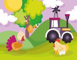 Cute animals in a farm vector