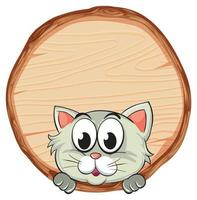 Blank sign template with cute cat on white background
