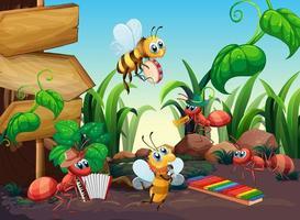 insectos músicos en la naturaleza