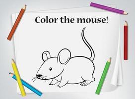 hoja de trabajo para colorear del ratón de los niños vector
