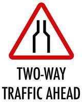 Señal de tráfico bidireccional por delante sobre fondo blanco. vector
