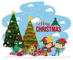 elfos celebrando la pancarta navideña vector