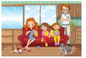 escena con la familia pasando un buen rato en casa vector