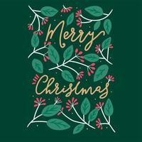 Green floral Merry Christmas typography card design