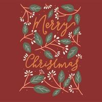 Red floral Merry Christmas typography card design vector