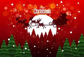 Santa on sleigh with deer delivery gift vector