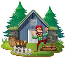 Lumberjack in fron of the house vector