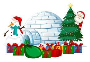 Papá Noel con muchos regalos e iglú sobre fondo blanco.