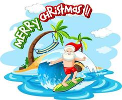 Santa Claus surfing at the beach for summer christmas