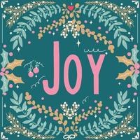 follaje y tipografía de alegría dibujada a mano vector