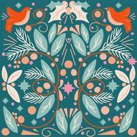 Tarjeta navideña de arte popular verde con follaje y pájaros. vector