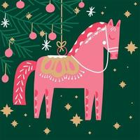 Retro hand drawn horse Christmas tree ornament