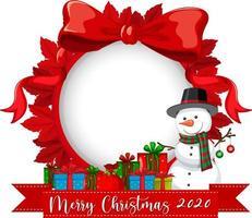 Marco de cinta roja con el logotipo de fuente Feliz Navidad 2020 y personaje de dibujos animados de muñeco de nieve vector