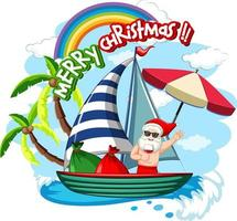 Santa Claus on the boat in summer theme vector
