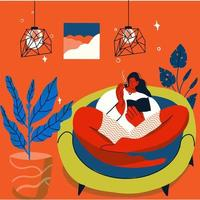 Girl relaxes and reads at home during self-isolation vector