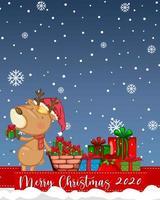 Merry Christmas 2020 font logo with reindeer cartoon character vector