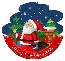 feliz navidad 2020 banner de fuente con lindo santa claus sobre fondo blanco vector