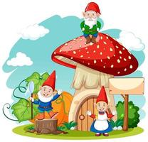 Gnomes and mushroom house cartoon style on white background vector