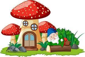 Gnome lying on stump beside mushroom house on white background