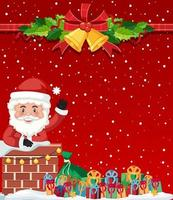 Merry Christmas with santa background vector