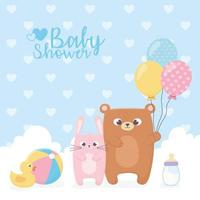 Little bear and rabbit for baby shower card vector