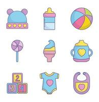 Cute baby shower icon collection
